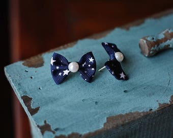 Petite Blue Star Spangled Bows Earrings