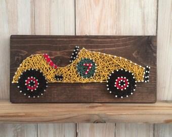 String Art, Car String Art, Race Car String Art, Race Car Decor, Old Race Car, Vintage Race Car, Boys Room Decor, Boy Nursery Decor