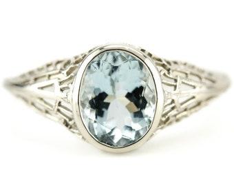 Aquamarine Filigree Ring, Nola Ring by Elizabeth Henry, March Birthstone 6FKMA8CL