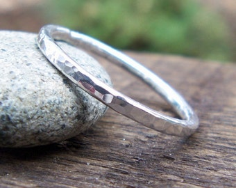 Silver Stacking Ring, Wedding Band, Skinny, Hammered Ring, Silver Ring, Bridal, Unisex, Fine Silver, 999, Made to Order, Gift for Him or Her