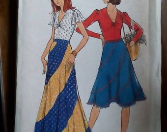 """1970s Top & Skirt - 36"""" Bust - Butterick 3555 - Vintage Retro Sewing Pattern"""