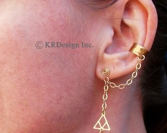 Gold-Brass-Triangle-Ear Cuff-Earrings / Free US Shipping