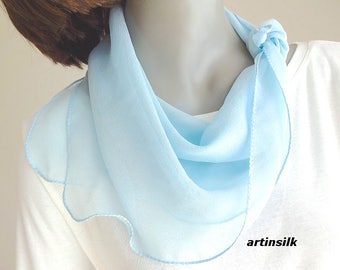 "Light Blue Small Scarf Silk Chiffon, Small Petite Neck Scarf for Girls or Small Neck 19""x19"", Flower Girl, Pony tail Hair, Artinsilk."