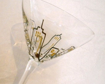 Crystal Martini Stem. Hand Painted. The City. Wired and Beaded.