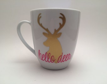 Hello Deer Coffee Mug, Cute Coffee Mug, Deer Coffee Mug, Country Girl