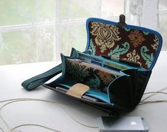 Large phone travel wallet clutch in forest green and floral fabric, sturdy roomy iphone 8 plus passport bag tech gift ready to ship