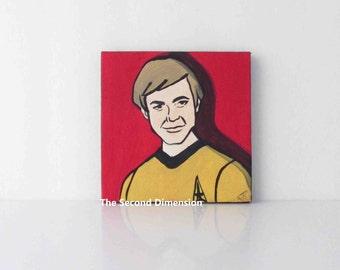 Mini Star Trek Chekov Cartoon Pop Art Sci Fi Art Painting - 4 x 4 Inches
