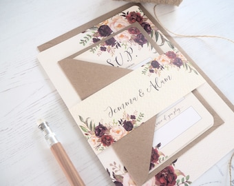 Floral Bloom Wedding Invitation with matching RSVP - SAMPLE