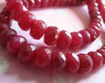 """Shop Sale.. 1/4 Strand, 3.25"""" inch, RUBY Rondelles Beads, Luxe AAA, 4-5 or 5-6 mm, Faceted, July birthstone brides bridal tr 45 56 true solo"""