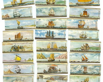 Sailing Ships CIGAR BAND Labels 24 pcs. Van Der Elst Labels 70s Boats Maritime Marine Ship - New Old Stock NOS Advertising CB2