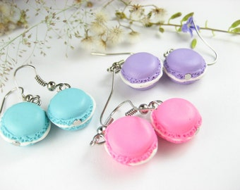 Cute French Macaron Earrings (3 pairs) Food Jewelry, food earrings, best friend gift, friendship gift, macaron jewelry, miniature food, clay