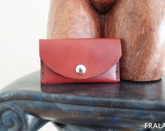Leather business card holder, Handmade, hand stitched, genuine,burgundy
