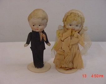 Vintage Bisque Bride & Groom Wedding Dolls  18 - 879