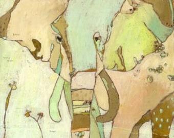 Trumpette Elephant Canvas Print by Jennifer Mercede 14X14