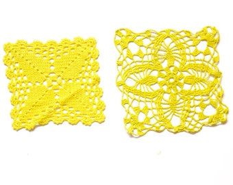 2 Yellow hand dyed Crochet Doily Vintage doilies square doilies