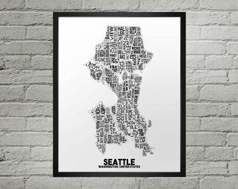 Seattle Washington Neighborhood Typography City Map Print