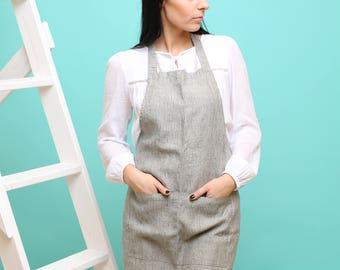 Linen Kitchen apron, washed linen apron, natural apron, handmade apron, eco - friendly