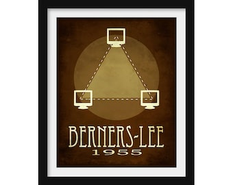 Engineer Gift, Science Poster, Computer Science Art, Tim Berners-Lee, Inventor Print, Computer Geek Gift, Classroom Decor, Science Gift