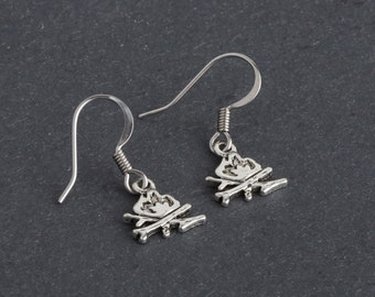 Campfire Dangle Earrings, Backpacking, Hiking, Trailblazing Tomboy Jewelry in Antique Silver