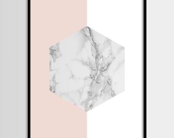 Abstract print, Modern print, Fashion art, Geometric, Pink, Gold, Marble, Minimal, Digital art, Printable art, Instant Download 11x14, 8x10