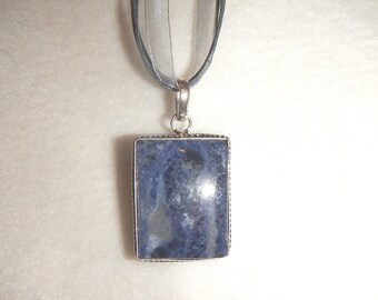 Blue-Gray Sodalite pendant necklace set in .925 sterling silver (P517)