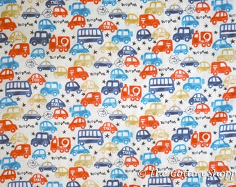 Kokka Fuara Cars Fabric ~ Double Gauze Fabric ~ Buses Trucks ~ Japanese Fabric ~ Boys Fabric ~ Kids Fabric~Home Decor Fabric~ Apparel Fabric