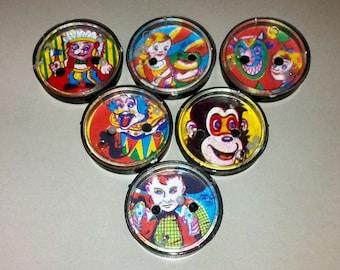 1950s Souvenir Circus Clown Patience Puzzle Set of All 6 Designs