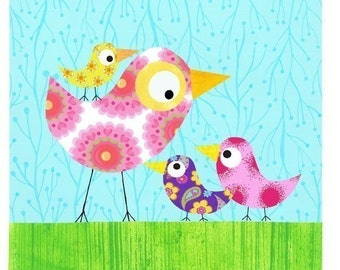 Mothers Day Wall Art -Mother and 3 birds- Nursery decor