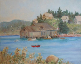 vintage Maine coastal oil painting boats lobster shack houses signed