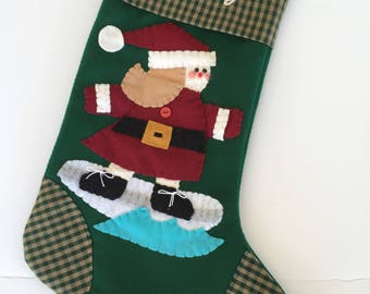 Surfing Girl Stocking, Christmas Stocking with Surfer for Girl, Surfer Christmas Stocking, Surfer Stocking