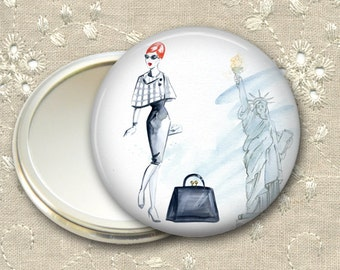 fashionista pocket mirror,  original art hand mirror, mirror for purse, gift for her,  bridesmaid gift, stocking stuffer  MIR-FASH-5