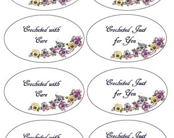 Oval Crochet Gift Tags Labels, PDF, Instant Download, Printable