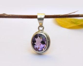 Amethyst Pendant in sterling silver Birthstone Pendant 925 Silver Pendant Amethyst Necklace Purple Amethyst Oval Bezel Pendant Gift for her