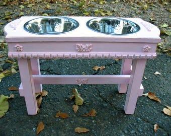 Pink Paradise Elevated Pet Feeder, Large Dog Feeding Station, Dog Bowls, Two quart stainless Dog Bowls Made To Order