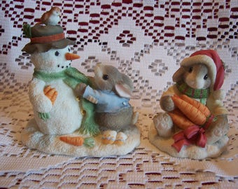 """Blushing Bunnies """"Friendship and Count Your Blessings"""" Figurines"""
