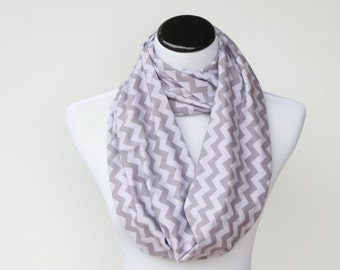 Gray scarf, gray chevron Infinity scarf zigzag grey stripes scarf - circle scarf loop scarf gift idea for her gift for mom
