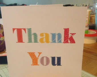 Thank you card, blank inner, any occasion, bright