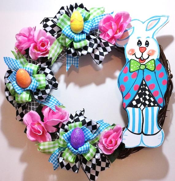 Peter Rabbit Easter Bunny Eggs Floral - Welcome Door Grapevine Wreath