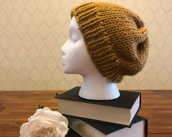 Marigold knit slouched beanie / Free US Shipping