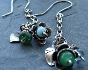 Blue and Green Bouquet Earrings