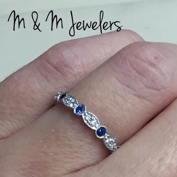 14K White Gold Diamond and Sapphire Antique Style Eternity Wedding Band