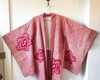 20% OFF SALE Vintage Silk Japanese Kimono, Silk Kimono , Layering Jacket