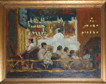 vintage church people oil painting