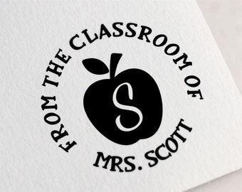From the Classroom Of Stamp, Custom Teacher Stamp, School Book Stamp, Personalized Classroom Library Stamp, Teacher Gift Z36