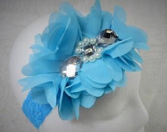 Turquoise Headband, Baby Girl Headband, Baby Flower Headband, Newborn Headband, Baby Girl, Little Girl Headband, Flower Headband, Chiffon