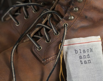 Black and Tan English Bridle Leather Laces Leather Bootlaces Black Leather Shoelaces - Red Wing, Chippewa, Wolverine