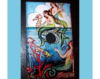 mermaid switch plate cover cable jack retro vintage nautical rockabilly pin up light switch