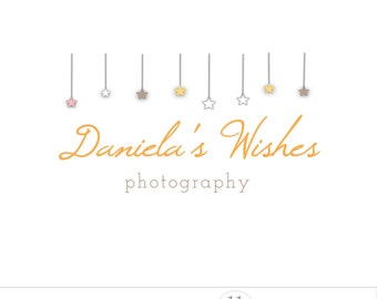 Hanging stars logo design, photographer branding, premade logo photography