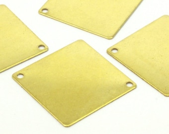 Brass Geometric Pendant, 24 Raw Brass Square Stamping Connectors With 2 Holes (20x20mm) D273