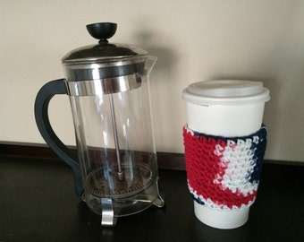 Crochet Drink Cozy, Red White and Blue, Charity Donation